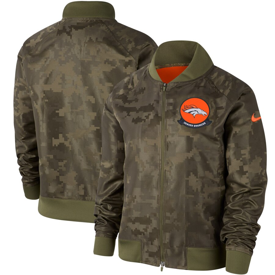 Women's Denver Broncos Nike Olive 2019 Salute to Service Full-Zip Bomber Jacket