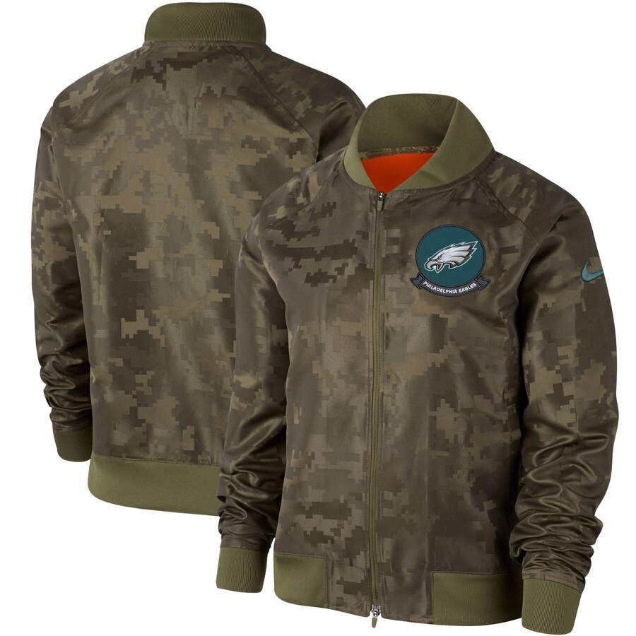 Women's Philadelphia Eagles Nike Olive 2019 Salute to Service Full-Zip Bomber Jacket
