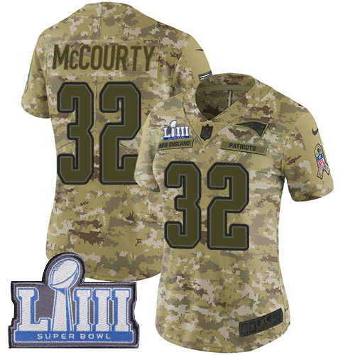 Nike Patriots #32 Devin McCourty Camo Super Bowl LIII Bound Women's Stitched NFL Limited 2018 Salute to Service Jersey