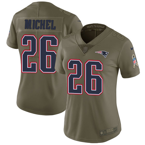Nike Patriots #26 Sony Michel Olive Women's Stitched NFL Limited 2017 Salute to Service Jersey