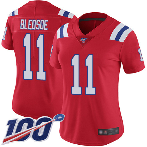 Nike Patriots #11 Drew Bledsoe Red Alternate Women's Stitched NFL 100th Season Vapor Limited Jersey