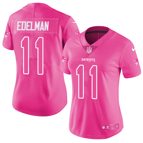 Nike Patriots #11 Julian Edelman Pink Women's Stitched NFL Limited Rush Fashion Jersey