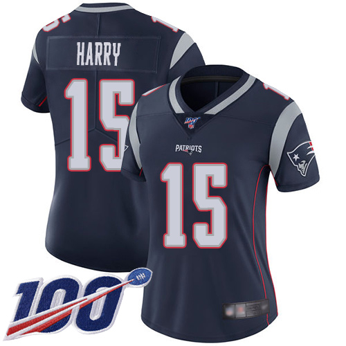 Nike Patriots #15 N'Keal Harry Navy Blue Team Color Women's Stitched NFL 100th Season Vapor Limited Jersey