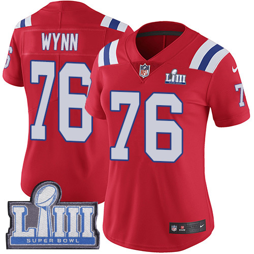 Nike Patriots #76 Isaiah Wynn Red Alternate Super Bowl LIII Bound Women's Stitched NFL Vapor Untouchable Limited Jersey