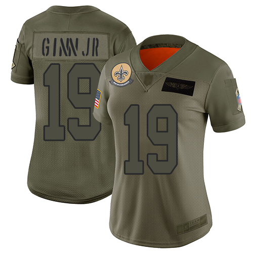 Nike Saints #19 Ted Ginn Jr Camo Women's Stitched NFL Limited 2019 Salute to Service Jersey