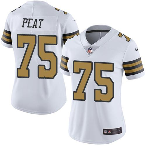 Nike Saints #75 Andrus Peat White Women's Stitched NFL Limited Rush Jersey