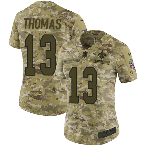 Nike Saints #13 Michael Thomas Camo Women's Stitched NFL Limited 2018 Salute to Service Jersey