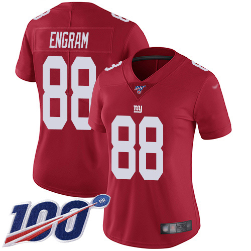 Nike Giants #88 Evan Engram Red Women's Stitched NFL Limited Inverted Legend 100th Season Jersey