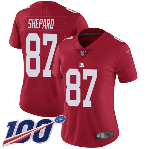 Nike Giants #87 Sterling Shepard Red Alternate Women's Stitched NFL 100th Season Vapor Limited Jersey