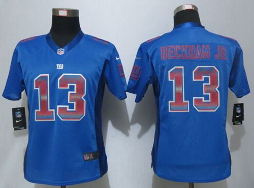 Nike Giants #13 Odell Beckham Jr Royal Blue Team Color Women's Stitched NFL Elite Strobe Jersey
