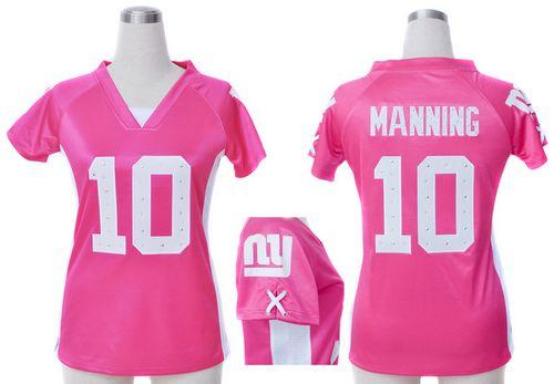 Nike Giants #10 Eli Manning Pink Draft Him Name & Number Top Women's Stitched NFL Elite Jersey