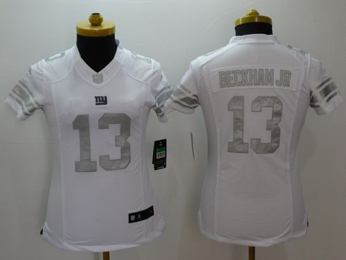 Nike Giants #13 Odell Beckham Jr Royal White Women's Stitched NFL Limited Platinum Jersey