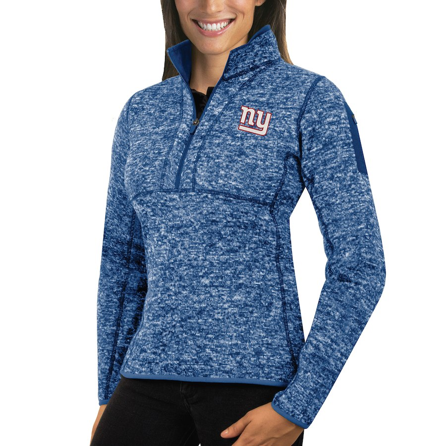 New York Giants Antigua Women's Fortune Half-Zip Sweater Heather Royal