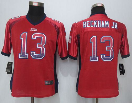 Nike Giants #13 Odell Beckham Jr Red Alternate Women's Stitched NFL Elite Drift Fashion Jersey
