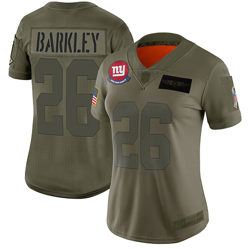 Nike Giants #26 Saquon Barkley Camo Women's Stitched NFL Limited 2019 Salute to Service Jersey