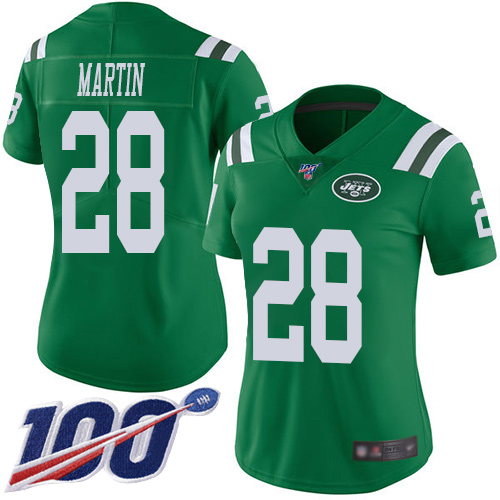 Nike Jets #28 Curtis Martin Green Women's Stitched NFL Limited Rush 100th Season Jersey