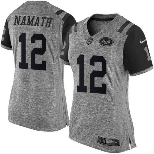 Nike Jets #12 Joe Namath Gray Women's Stitched NFL Limited Gridiron Gray Jersey