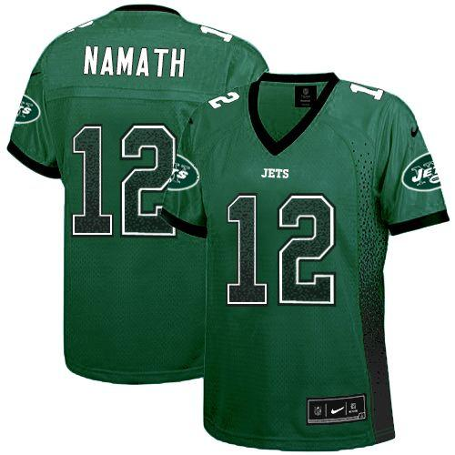 Nike Jets #12 Joe Namath Green Team Color Women's Stitched NFL Elite Drift Fashion Jersey