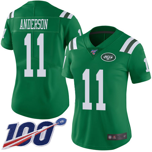 Nike Jets #11 Robby Anderson Green Women's Stitched NFL Limited Rush 100th Season Jersey