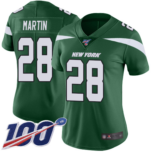 Nike Jets #28 Curtis Martin Green Team Color Women's Stitched NFL 100th Season Vapor Limited Jersey