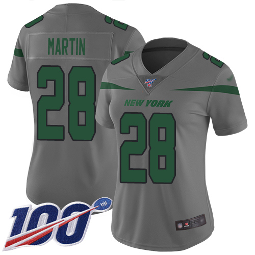 Nike Jets #28 Curtis Martin Gray Women's Stitched NFL Limited Inverted Legend 100th Season Jersey