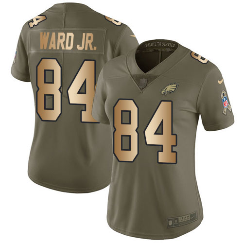 Nike Eagles #84 Greg Ward Jr. Olive/Gold Women's Stitched NFL Limited 2017 Salute To Service Jersey