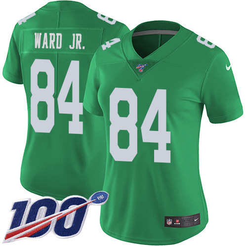 Nike Eagles #84 Greg Ward Jr. Green Women's Stitched NFL Limited Rush 100th Season Jersey