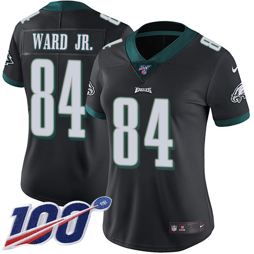 Nike Eagles #84 Greg Ward Jr. Black Alternate Women's Stitched NFL 100th Season Vapor Untouchable Limited Jersey
