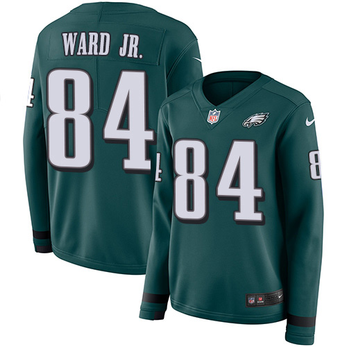 Nike Eagles #84 Greg Ward Jr. Green Team Color Women's Stitched NFL Limited Therma Long Sleeve Jersey