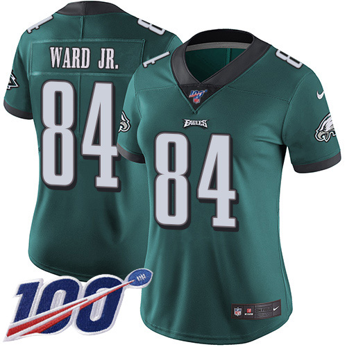 Nike Eagles #84 Greg Ward Jr. Green Team Color Women's Stitched NFL 100th Season Vapor Untouchable Limited Jersey