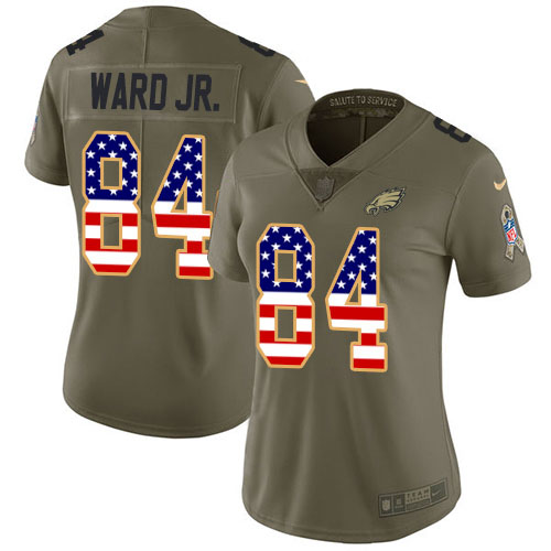 Nike Eagles #84 Greg Ward Jr. Olive/USA Flag Women's Stitched NFL Limited 2017 Salute To Service Jersey