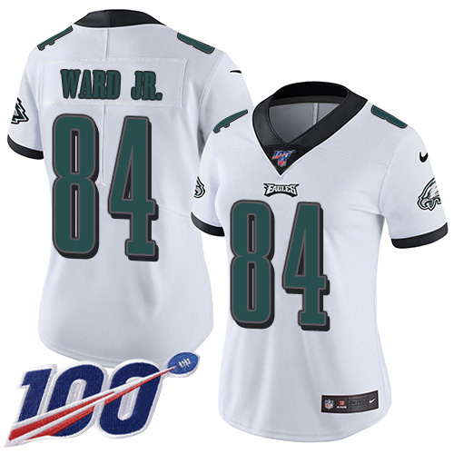 Nike Eagles #84 Greg Ward Jr. White Women's Stitched NFL 100th Season Vapor Untouchable Limited Jersey