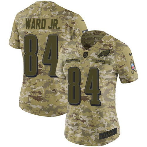 Nike Eagles #84 Greg Ward Jr. Camo Women's Stitched NFL Limited 2018 Salute To Service Jersey