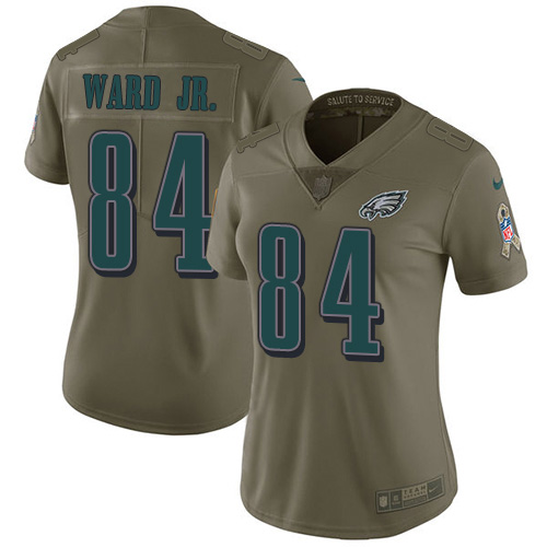 Nike Eagles #84 Greg Ward Jr. Olive Women's Stitched NFL Limited 2017 Salute To Service Jersey