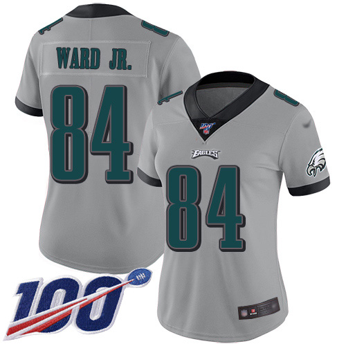 Nike Eagles #84 Greg Ward Jr. Silver Women's Stitched NFL Limited Inverted Legend 100th Season Jersey