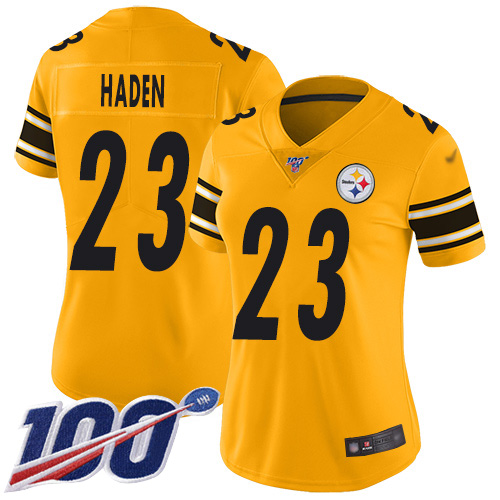 Nike Steelers #23 Joe Haden Gold Women's Stitched NFL Limited Inverted Legend 100th Season Jersey