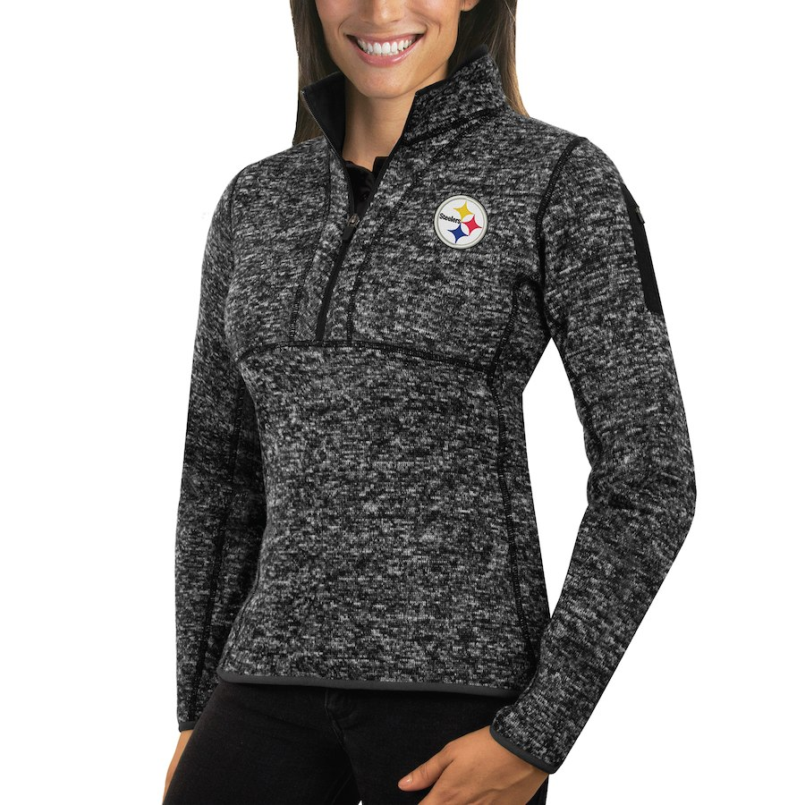 Pittsburgh Steelers Antigua Women's Fortune Half-Zip Sweater Heather Black