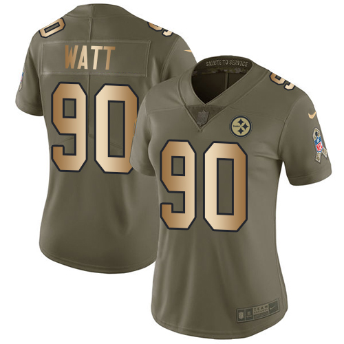 Nike Steelers #90 T. J. Watt Olive/Gold Women's Stitched NFL Limited 2017 Salute to Service Jersey