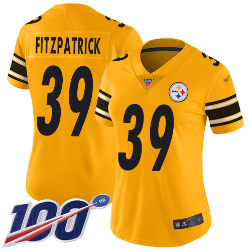 Nike Steelers #39 Minkah Fitzpatrick Gold Women's Stitched NFL Limited Inverted Legend 100th Season Jersey
