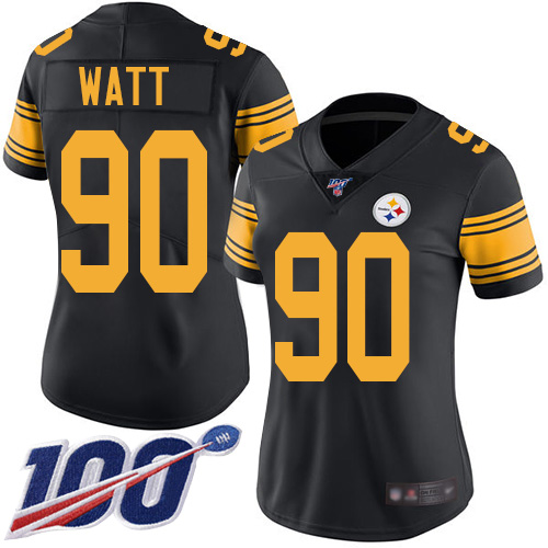 Nike Steelers #90 T. J. Watt Black Women's Stitched NFL Limited Rush 100th Season Jersey