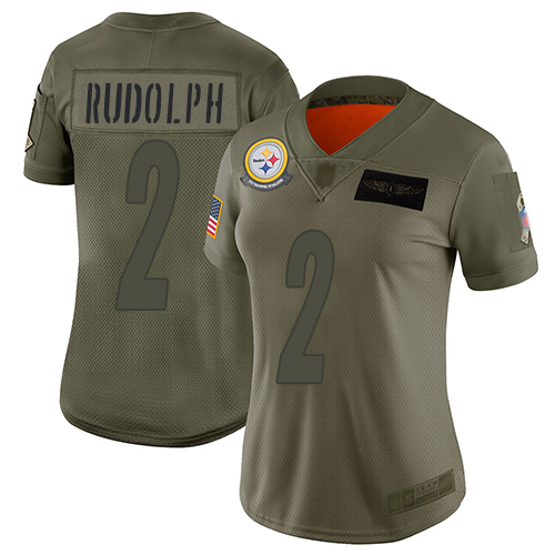 Nike Steelers #2 Mason Rudolph Camo Women's Stitched NFL Limited 2019 Salute to Service Jersey