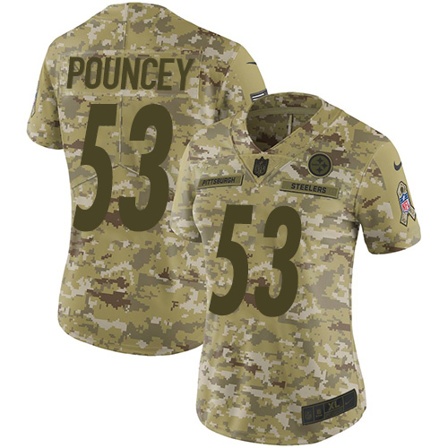 Nike Steelers #53 Maurkice Pouncey Camo Women's Stitched NFL Limited 2018 Salute to Service Jersey