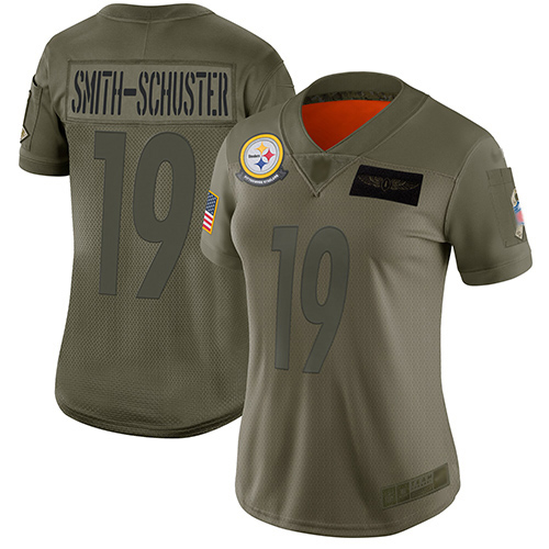 Nike Steelers #19 JuJu Smith-Schuster Camo Women's Stitched NFL Limited 2019 Salute to Service Jersey