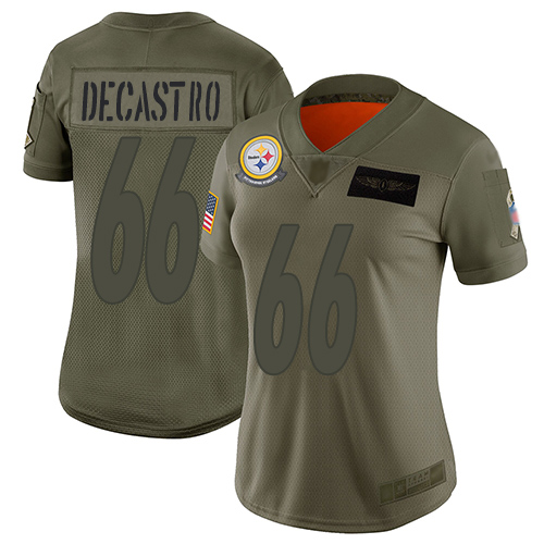 Nike Steelers #66 David DeCastro Camo Women's Stitched NFL Limited 2019 Salute to Service Jersey