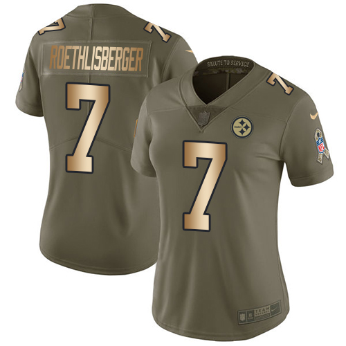 Nike Steelers #7 Ben Roethlisberger Olive/Gold Women's Stitched NFL Limited 2017 Salute to Service Jersey