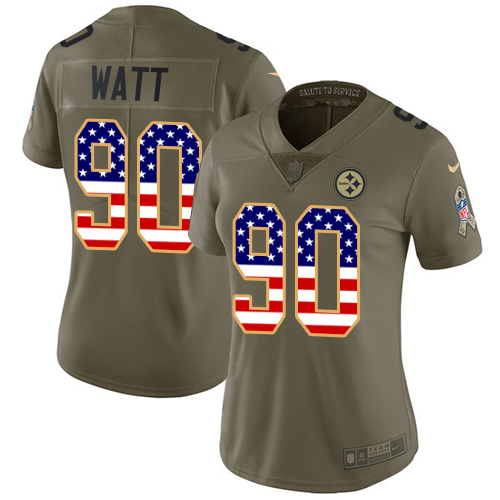Nike Steelers #90 T. J. Watt Olive/USA Flag Women's Stitched NFL Limited 2017 Salute to Service Jersey