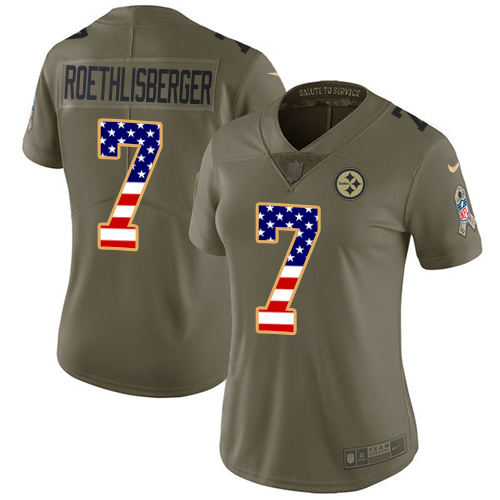 Nike Steelers #7 Ben Roethlisberger Olive/USA Flag Women's Stitched NFL Limited 2017 Salute to Service Jersey