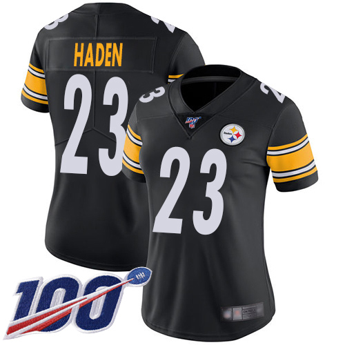 Nike Steelers #23 Joe Haden Black Team Color Women's Stitched NFL 100th Season Vapor Limited Jersey