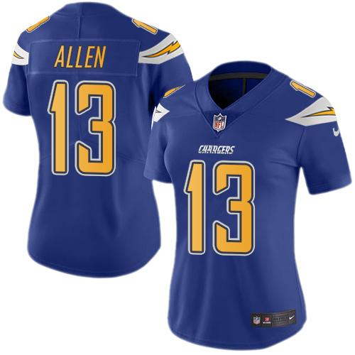 Nike Chargers #13 Keenan Allen Electric Blue Women's Stitched NFL Limited Rush Jersey