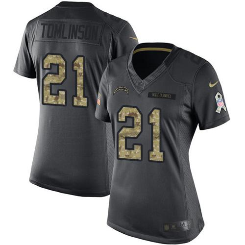 Nike Chargers #21 LaDainian Tomlinson Black Women's Stitched NFL Limited 2016 Salute to Service Jersey